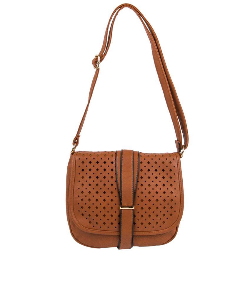 Feetoes Brown P.U. Sling Bag