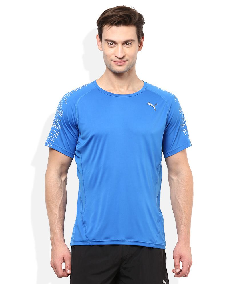 Puma Blue Round Neck T-Shirt