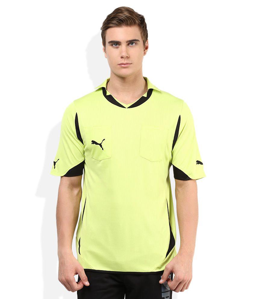 Puma Green Solid Polo T Shirt