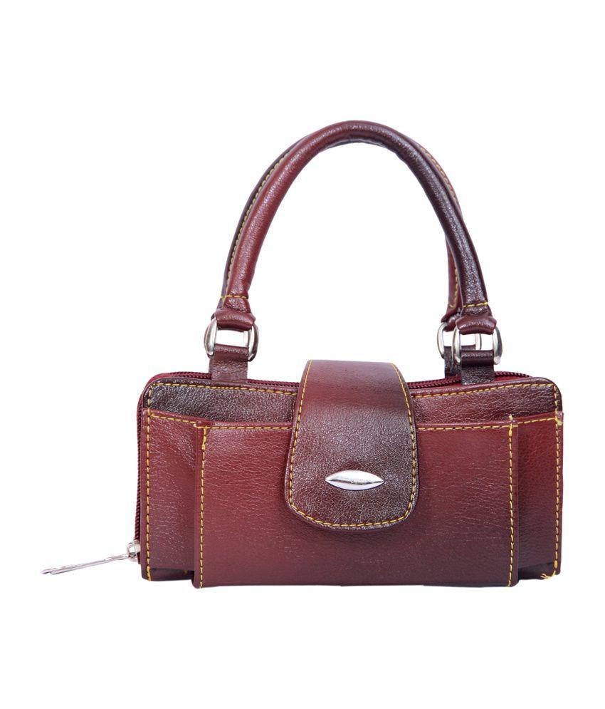 Speed Dot Leather Women Hand Bag - Maroon