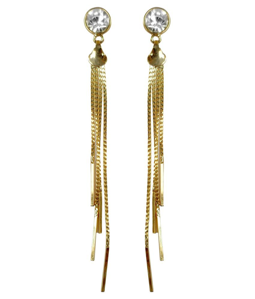 Kamal Jeweller Golden & White Alloy Hanging Earrings