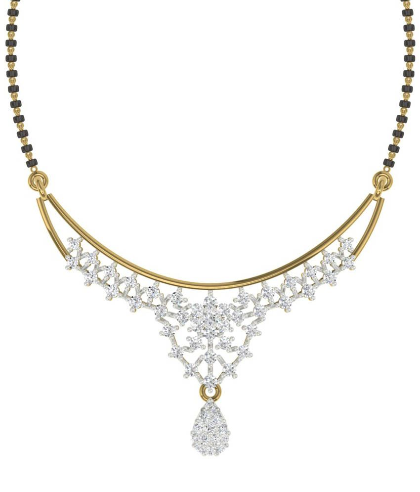 TBZ - The Original 18KT Yellow Gold Traditional Mangalsutra with 0.62cts Diamonds without Chain