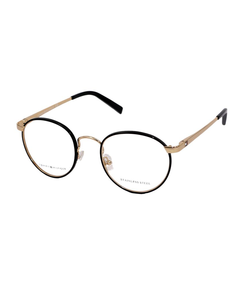 1527dfd9730 Tommy Hilfiger Full Rim Black   Golden Round Frame Eyeglasses for Unisex -  Buy Tommy Hilfiger Full Rim Black   Golden Round Frame Eyeglasses for  Unisex ...