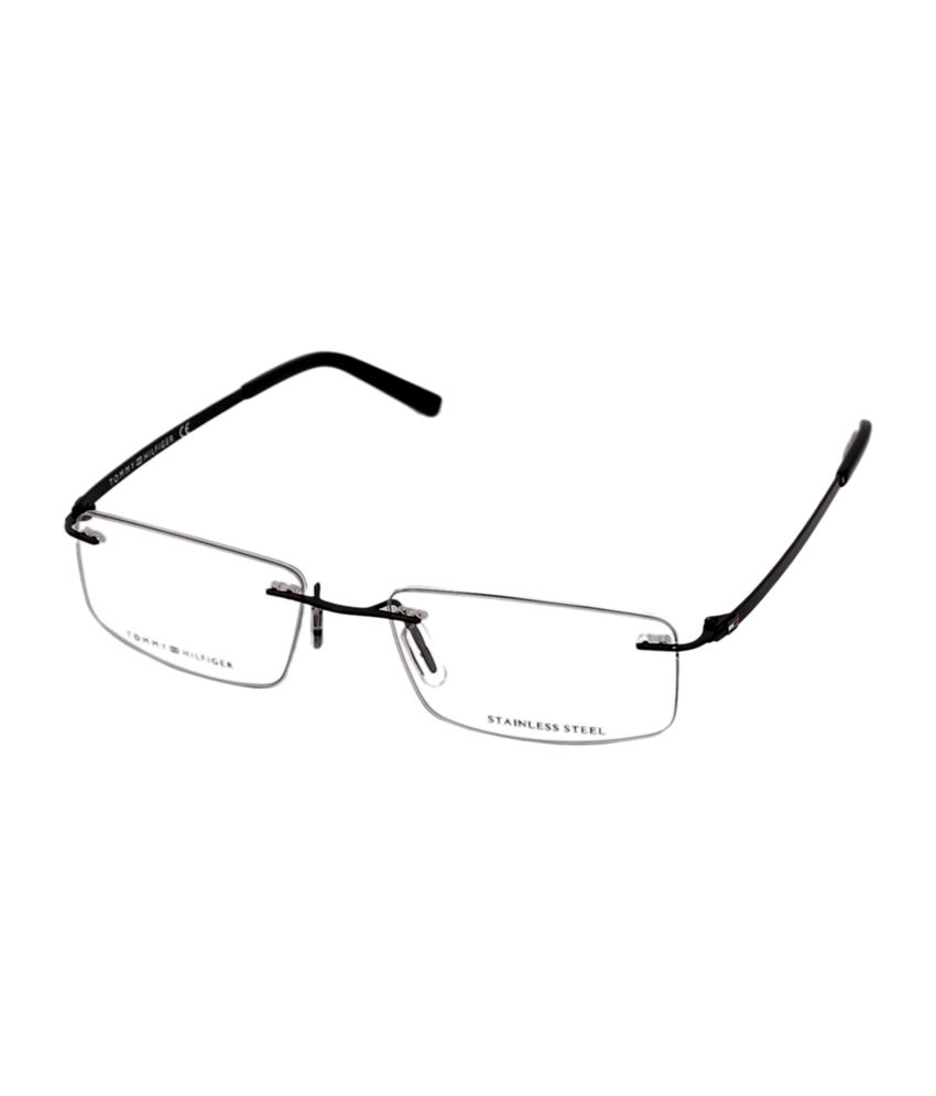 ac7b74642a Tommy Hilfiger Rimless Black Rectangle Unisex Frame Eyeglasses - Buy Tommy  Hilfiger Rimless Black Rectangle Unisex Frame Eyeglasses Online at Low  Price - ...