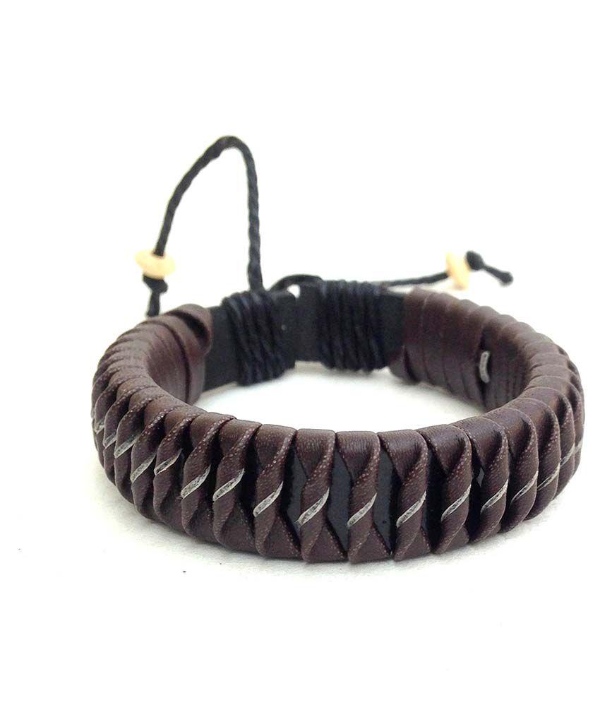Jocular Brown Faux Leather Bracelet
