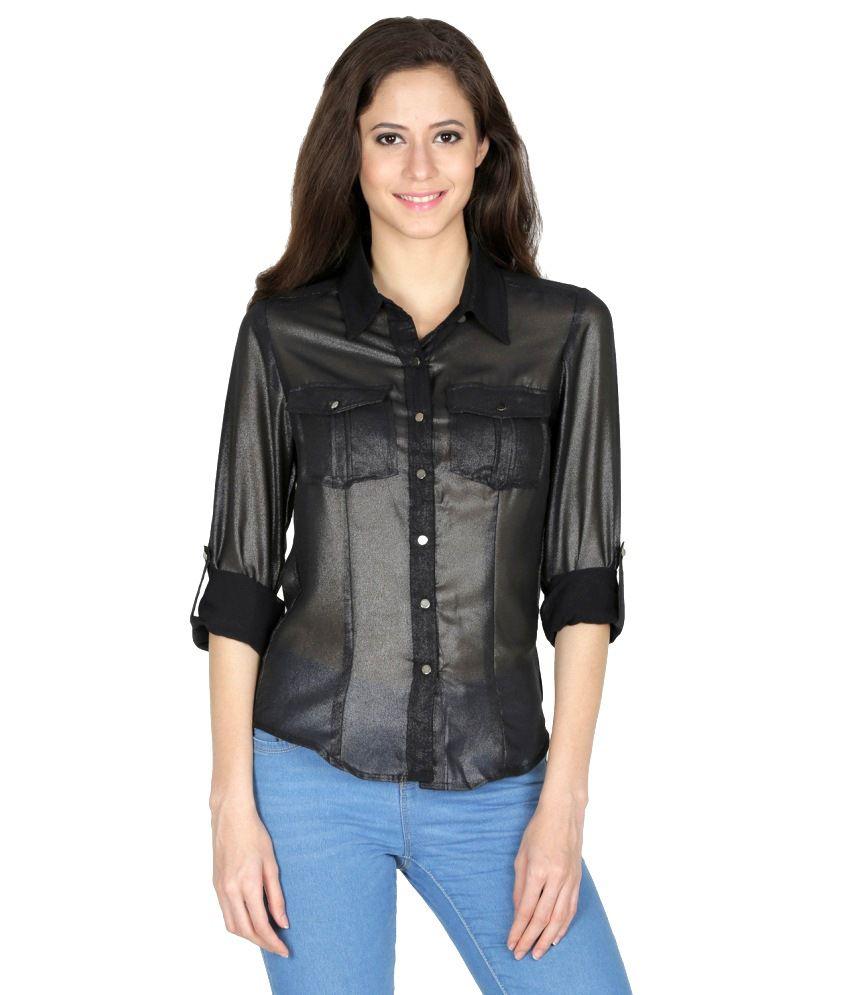 Mayra Black Polyester Shirts