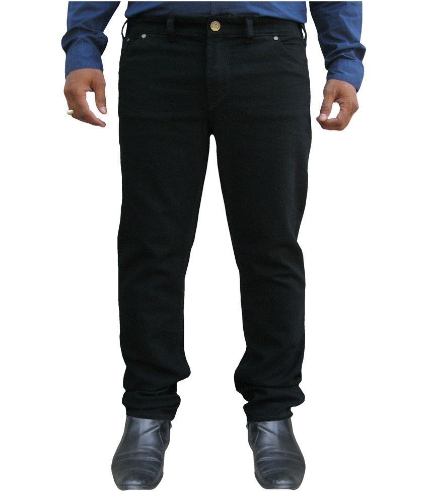 White Pelican Black Stretchable Plus Size Regular Fit Jeans For Men.