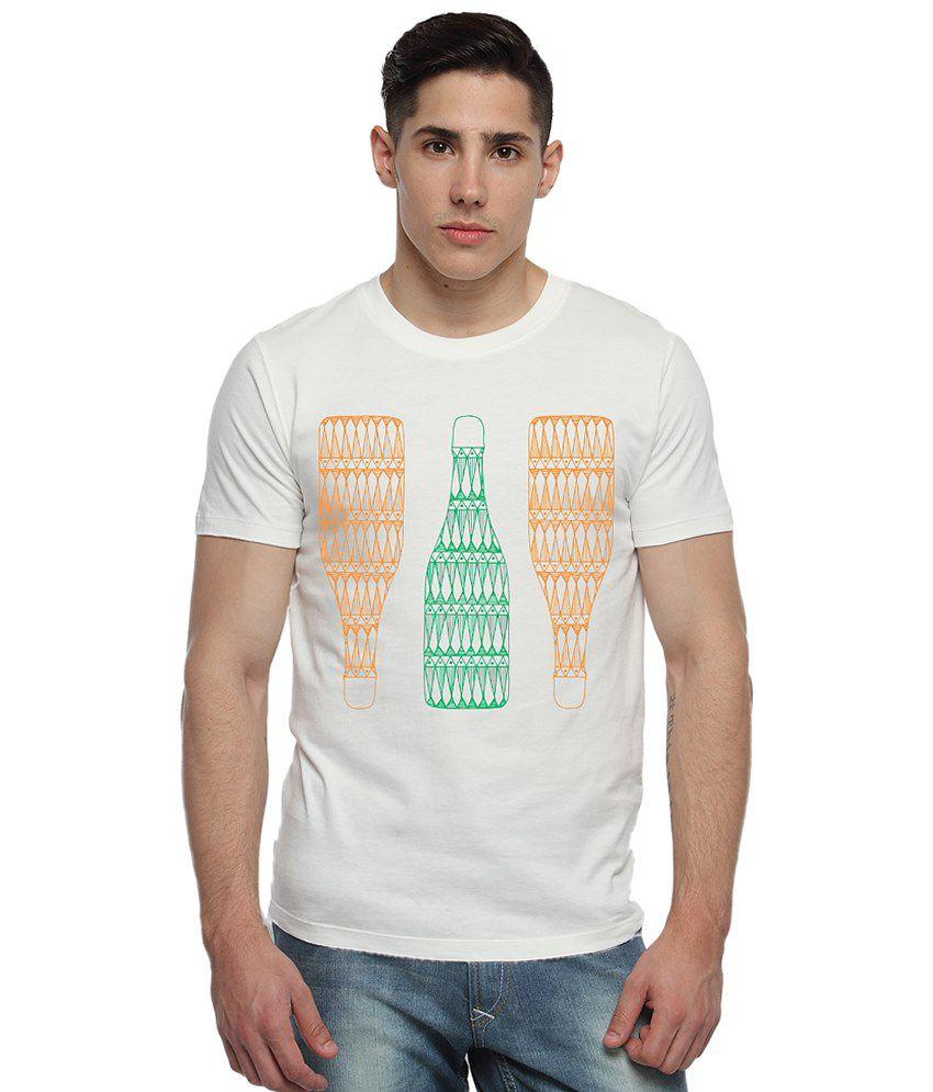 Adro White & Orange Printed T Shirt