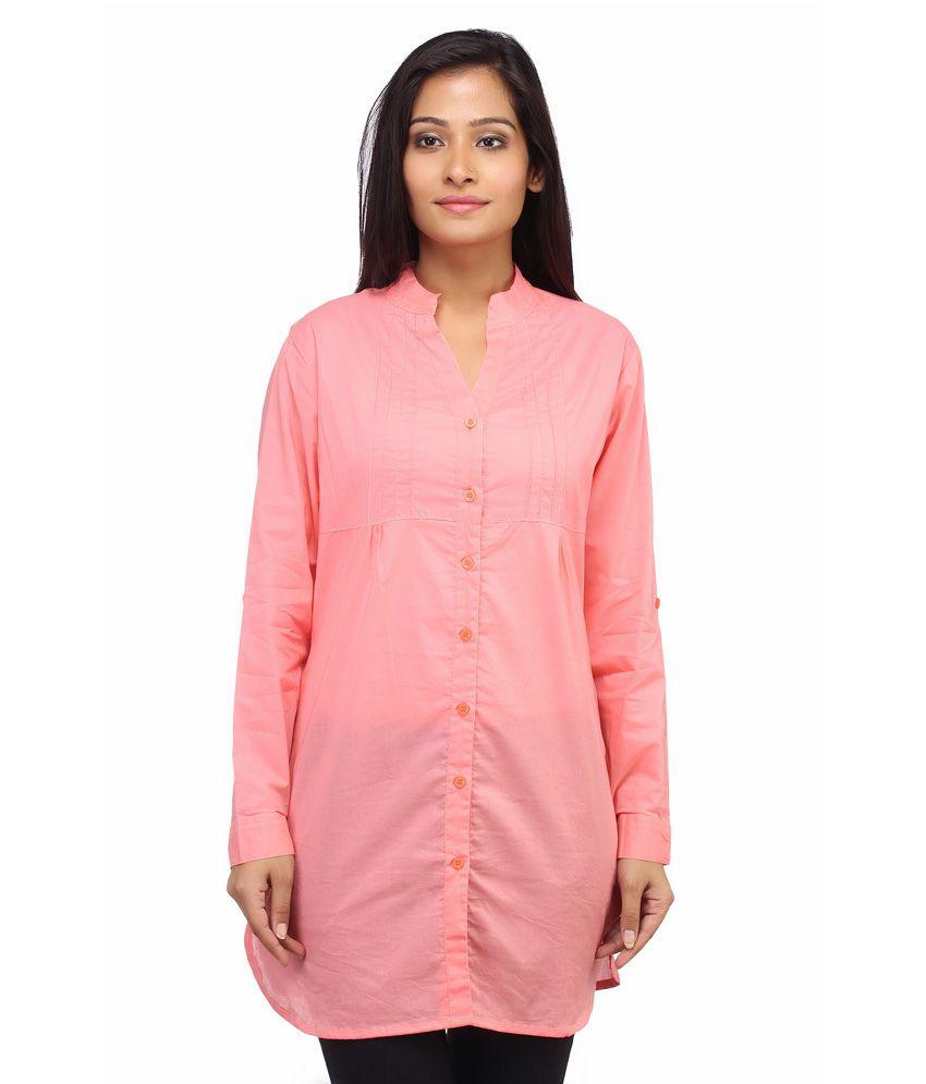Entease PeachPuff Cotton Tunics