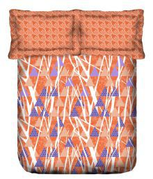 Trident Multicolour Cotton Double Bedsheet With 2 Pillow Cover