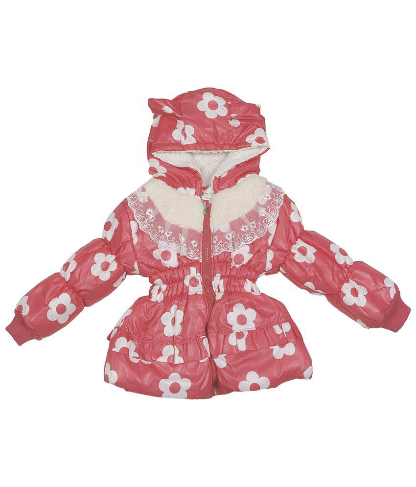 Addyvero Pink & White Faux Satin Quilted Jacket