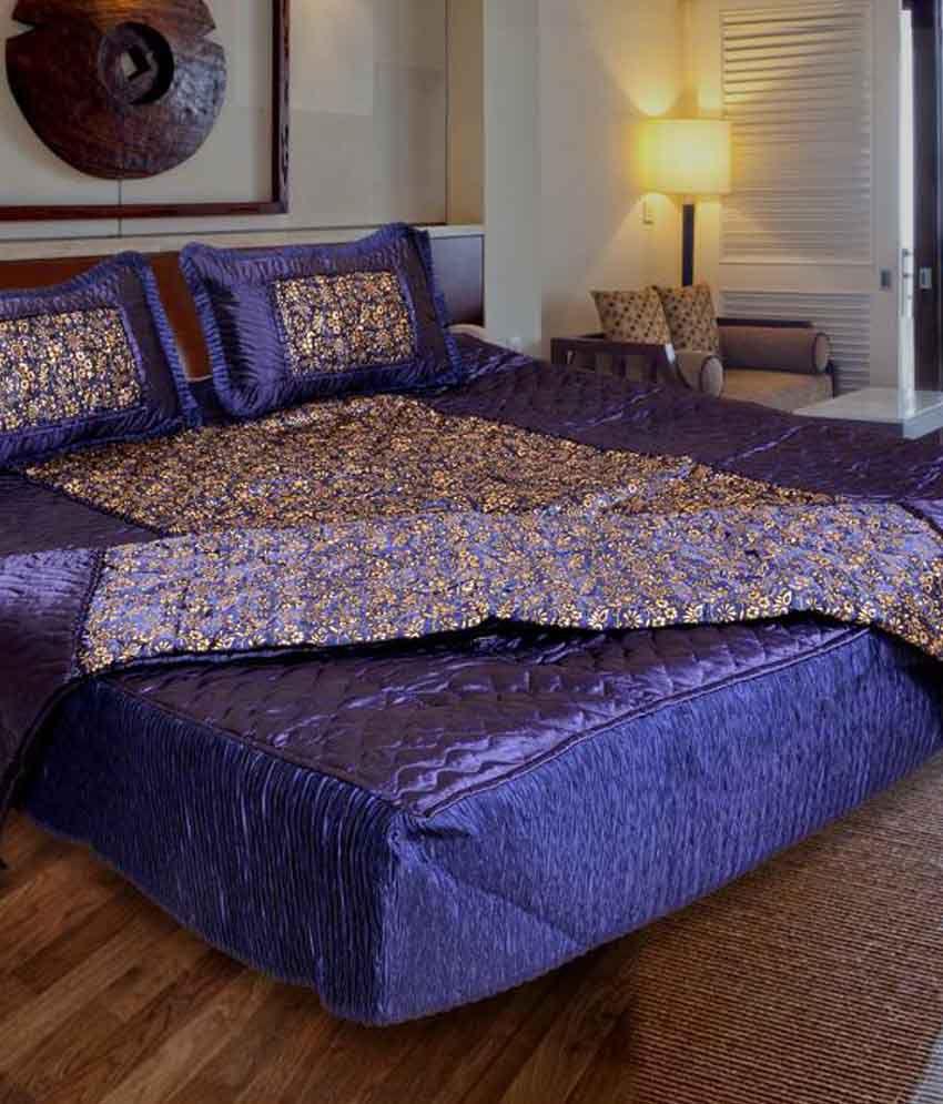 ooltah chashma Satin Designer Double Bed Bedding Wedding Set - Set of 4 pcs (1 Bedsheet, 2 Pilow Covers,  1 AC Comforter)