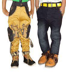 AD & AV Khaki and Navy Blue Cotton Blend Regular Fit Jeans - Pack of 2