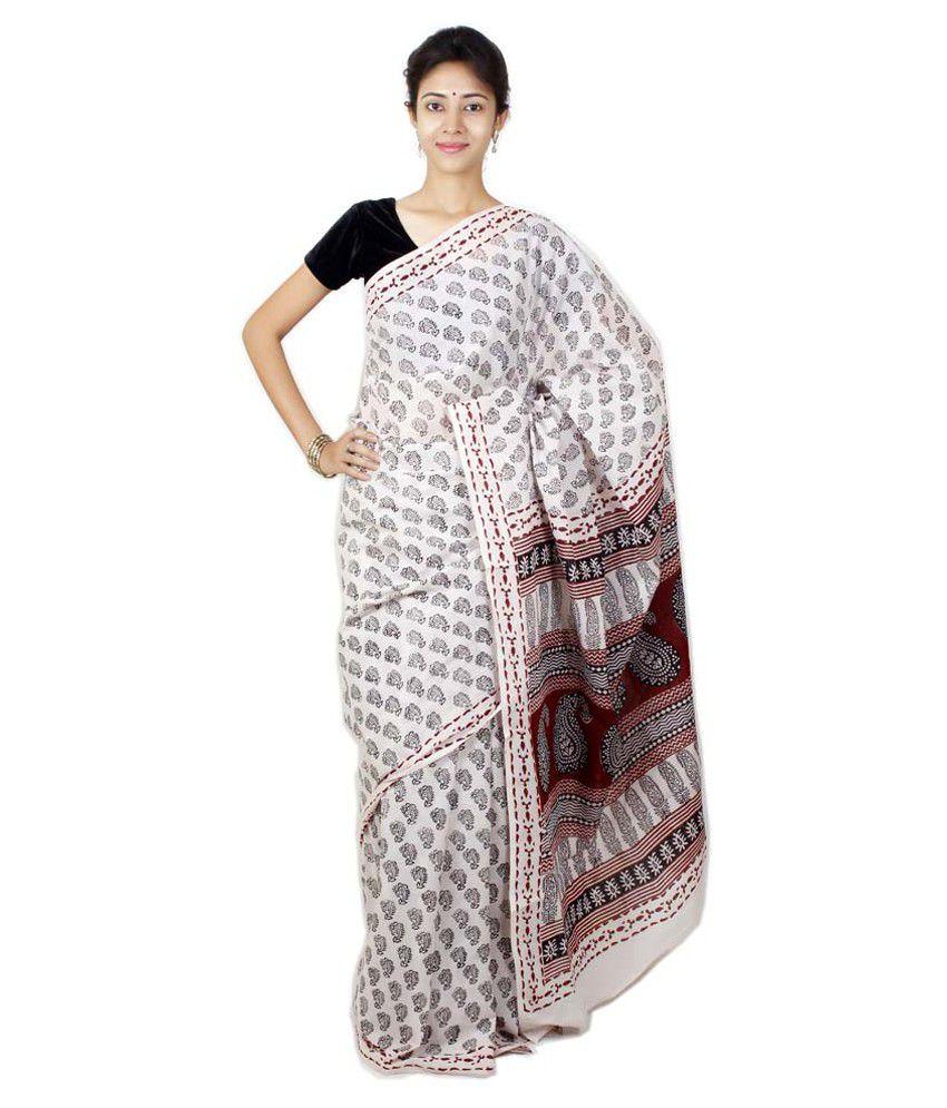 Bagh Print White Cotton Saree