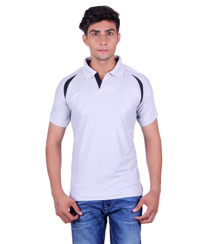 EX10 Gray Polyester Polo T Shirt