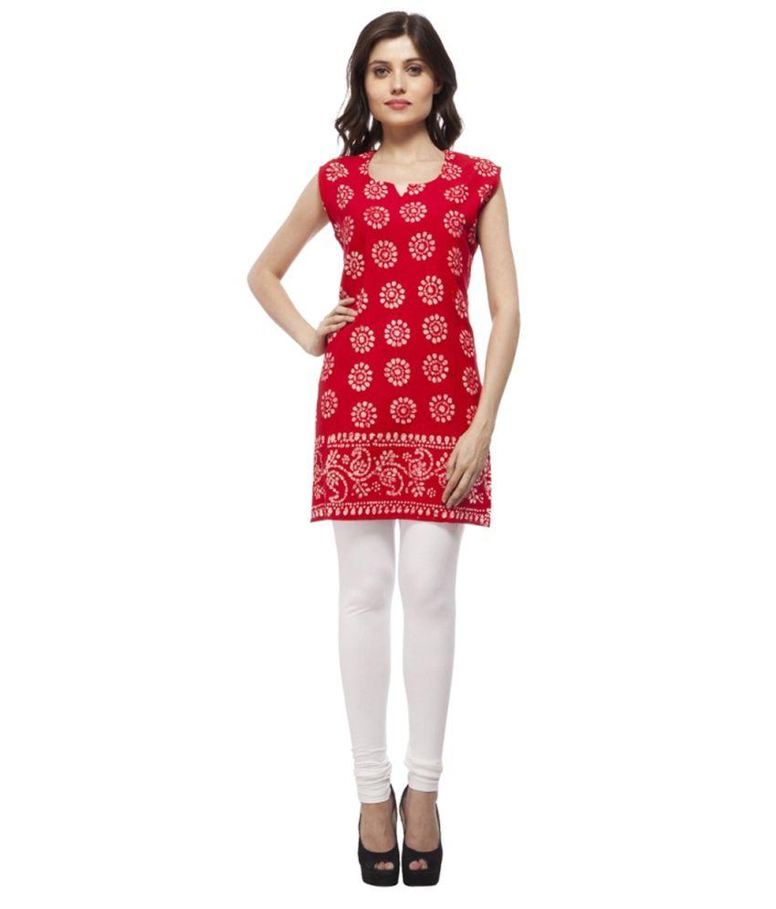 Elearray Wear Red Cotton Kurti Price in India