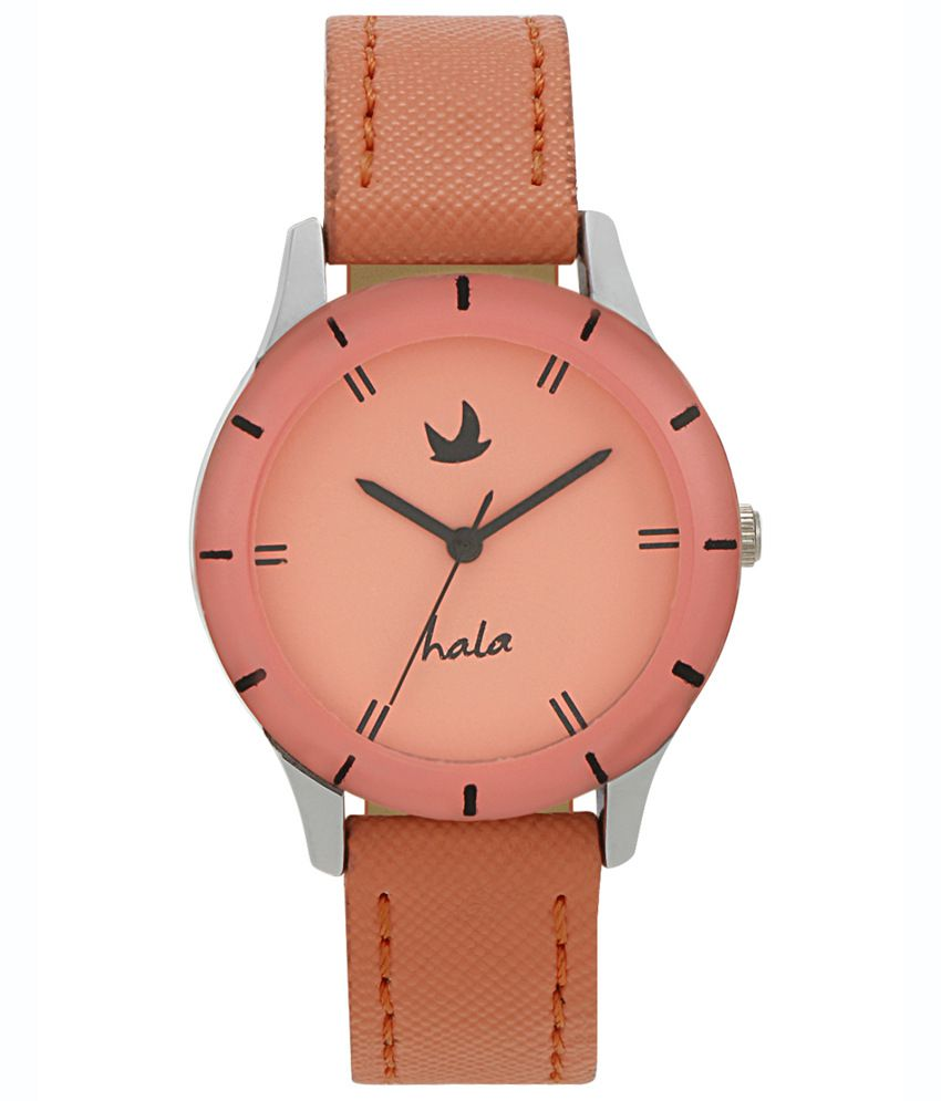 Hala Orange Leather Analog Watch