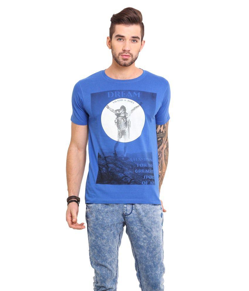 Mode Vetements Blue & White Cotton T-Shirt