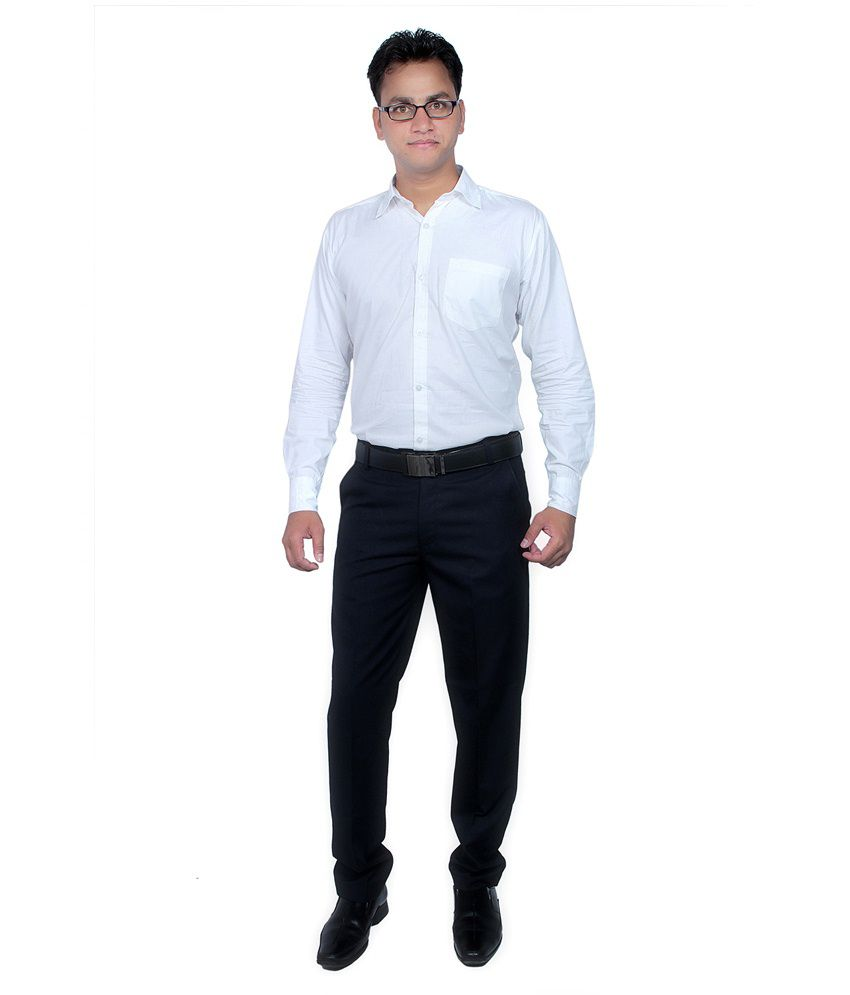 Routeen Blue Slim Fit Formal Pleated Trouser