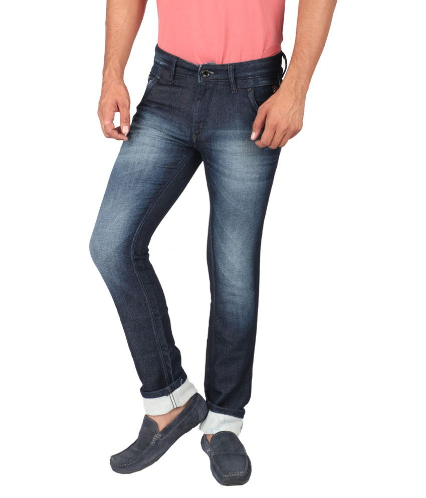 Streetguys Blue Cotton Blend Slim Fit Jeans