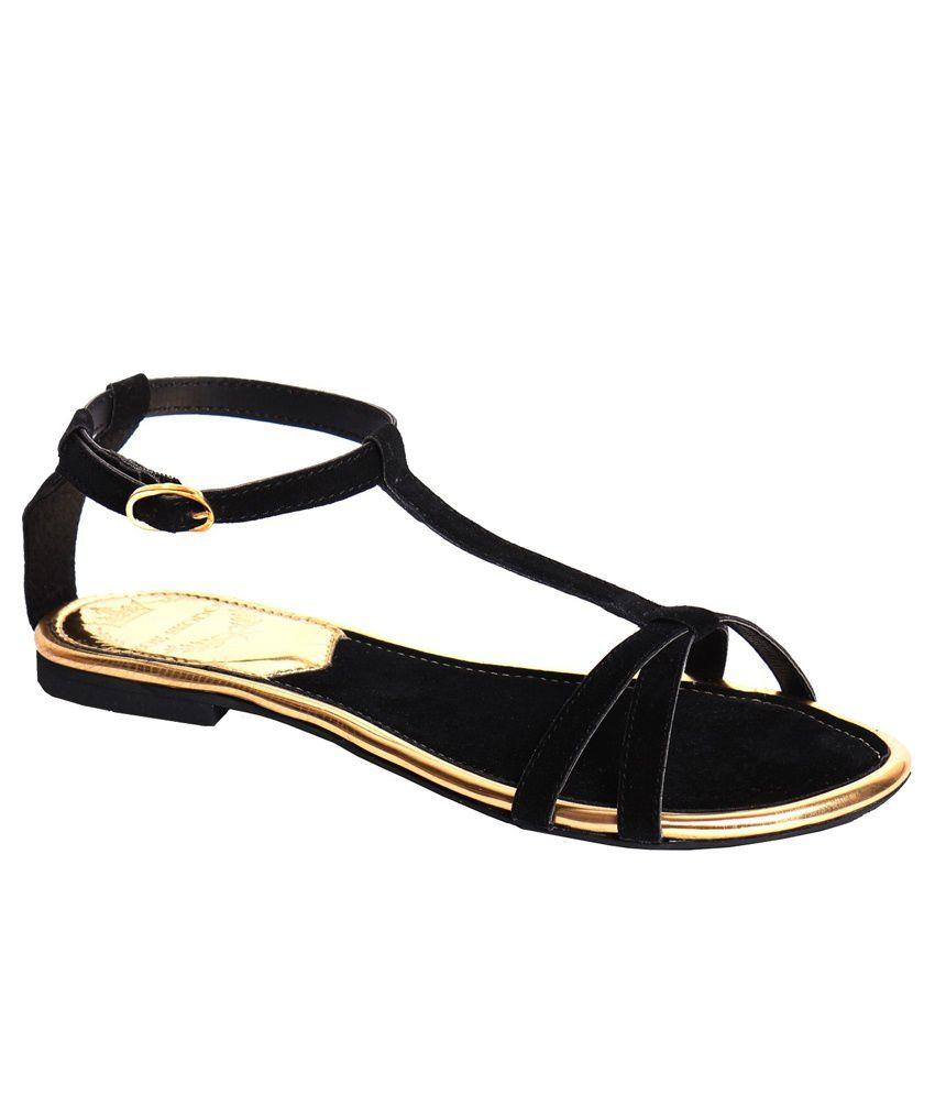 Zoe Skodon Black Flat Sandals