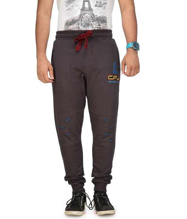 Cult Fusion Black Cotton Trackpants
