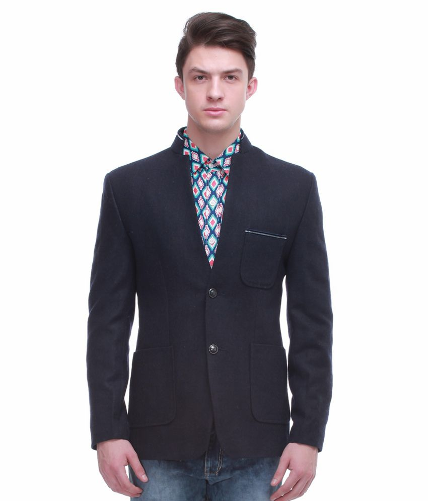 Jogur Navy Full Sleeve Casual Blazer