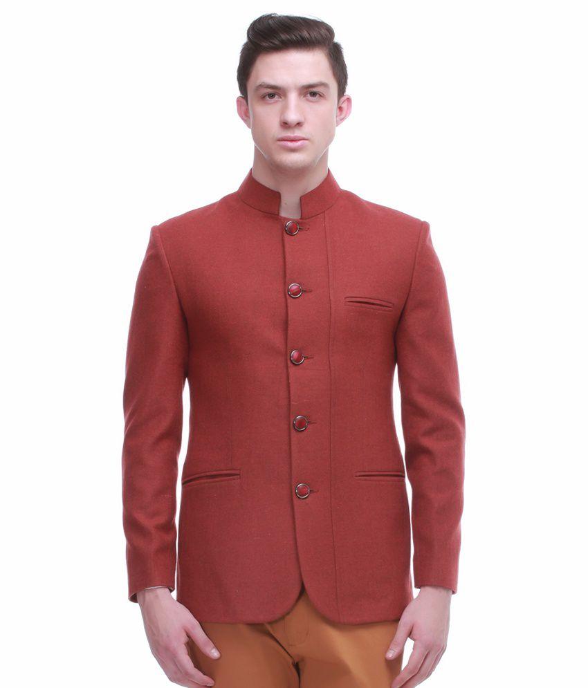 Jogur Red Full Sleeve Casual Blazer