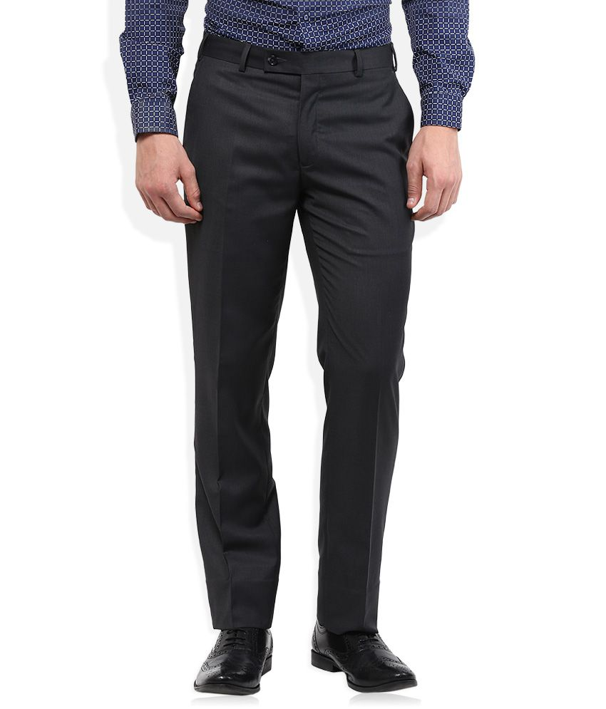 Park Avenue Grey Solid Flat Front Trousers