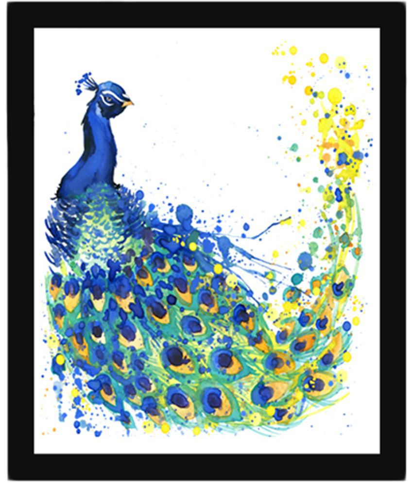Wow Interiors and Decors Blue & Yellow Peacock Wooden Framed Painting