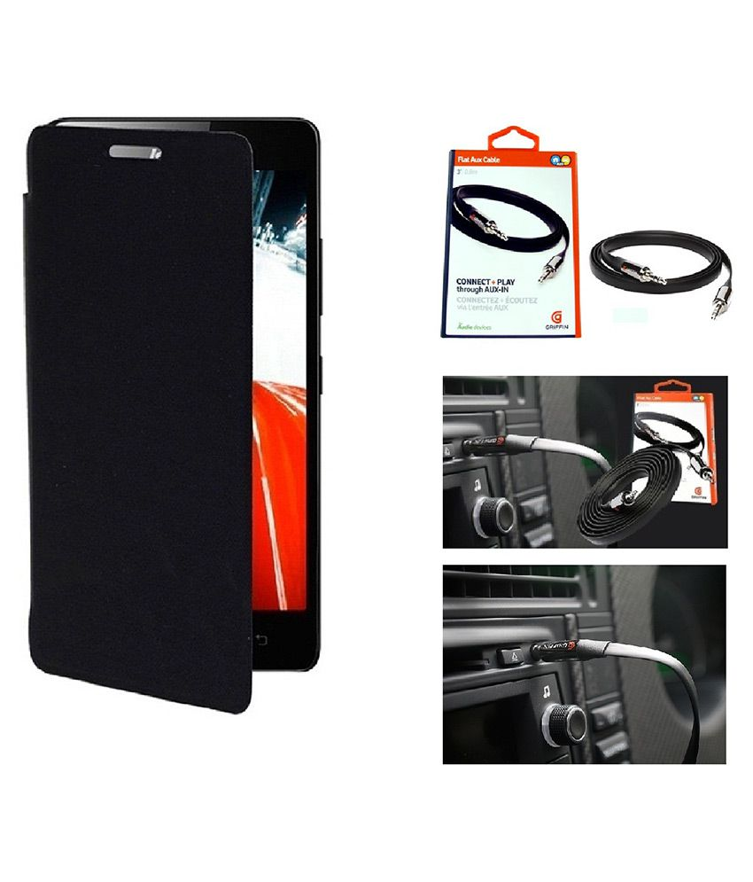 JBJ Flip Cover for Lava iris 348 - Black With Free One Aux Cable