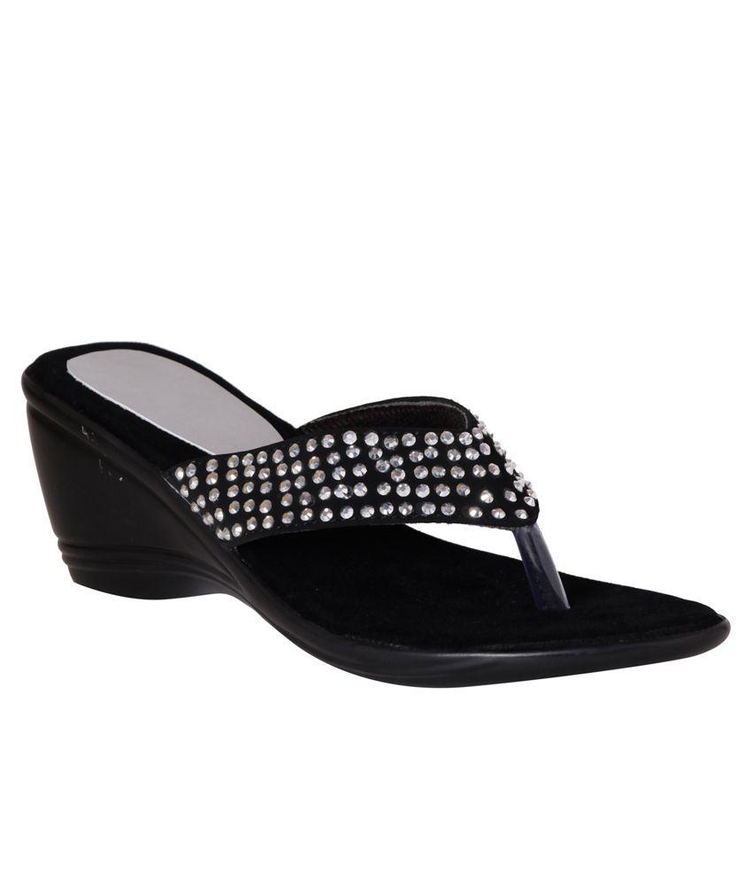 Pantof Black Wedge Slip-ons