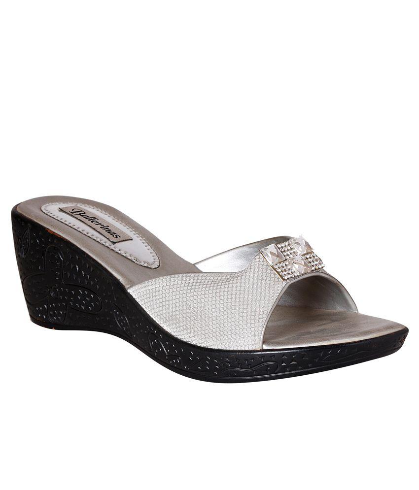 Pantof Silver Wedge Slip-ons