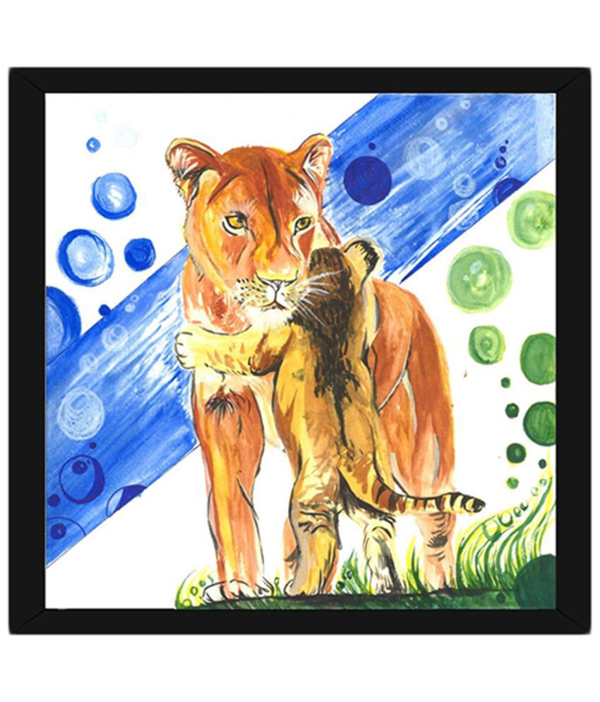 Wow Interiors and Decors Blue & Brown Lioness with Cub Wooden Framed Painting