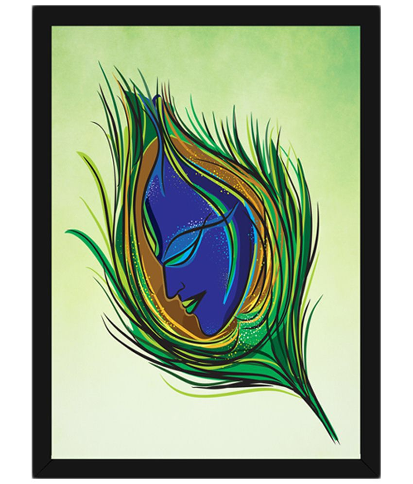 Wow Interiors and Decors Green & Blue Feather Krishna Wooden Framed Painting