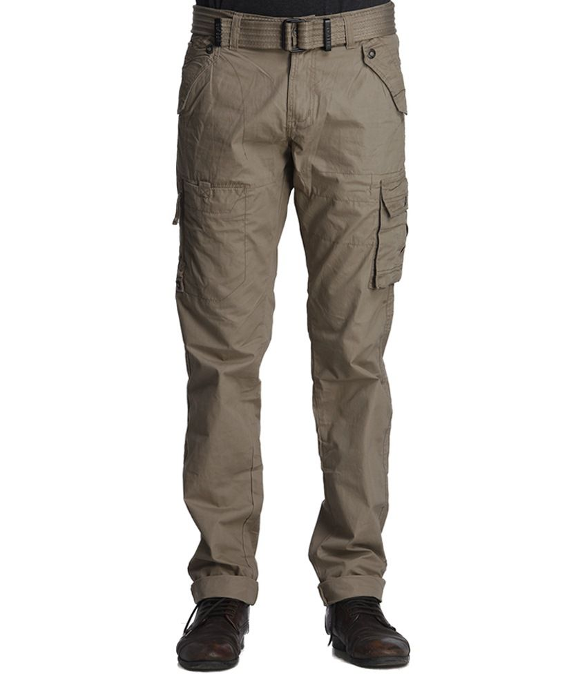Beevee Sand Cargo Pant With Belt