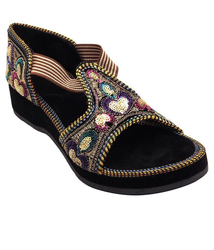 E-Handicrafts Black Sandals