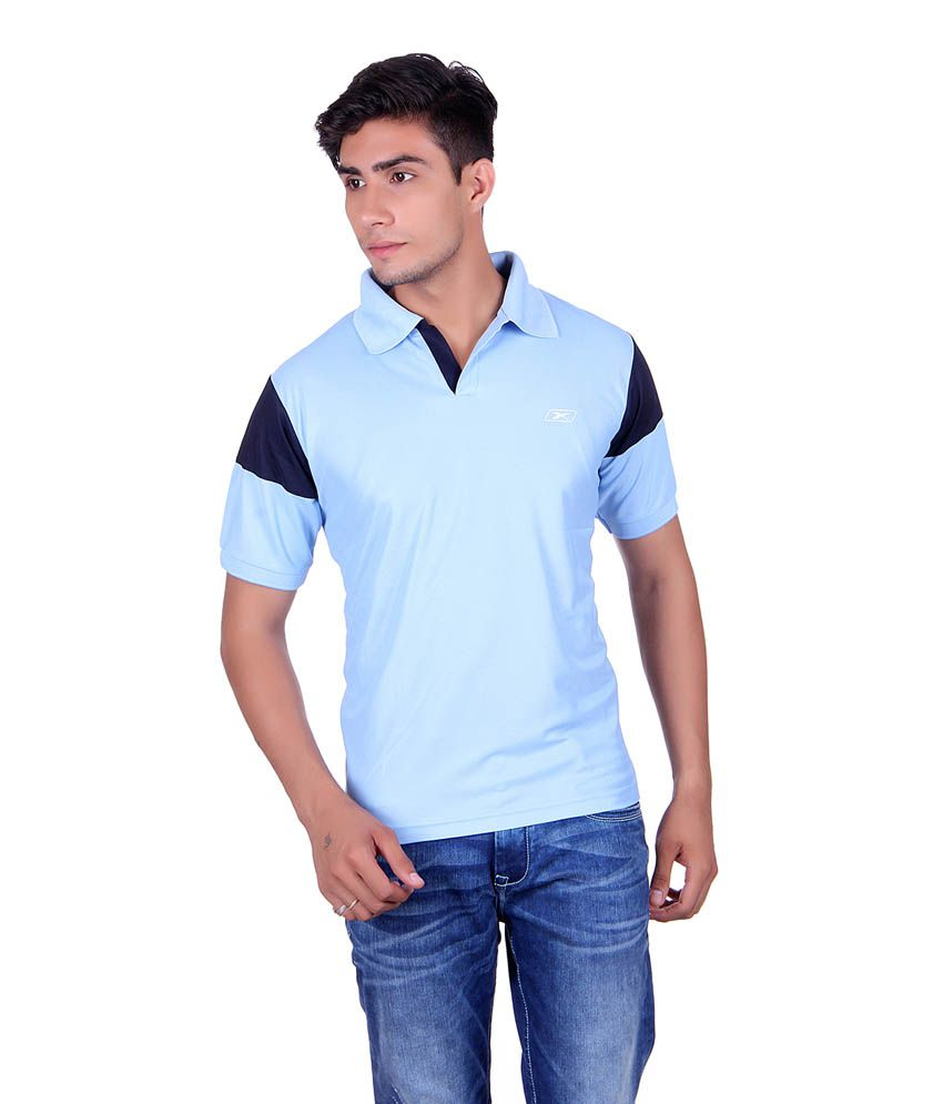 EX10 Blue Polyester Sports T-shirt