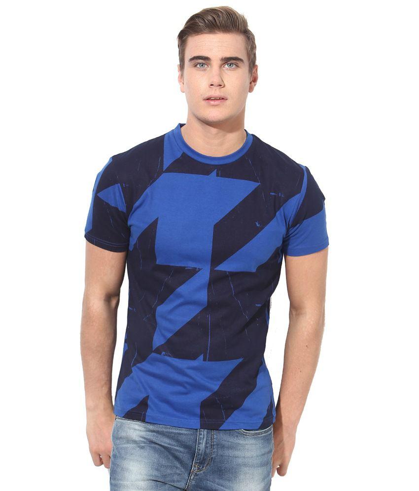 Monteil & Munero Blue & Black Round Neck T-Shirt