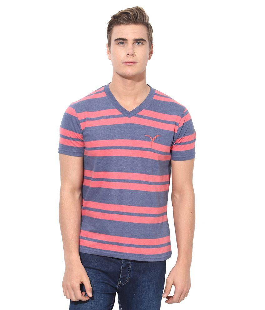 Monteil & Munero Blue & Peach V-Neck Neck T-Shirt V-Neck Neck T-Shirt