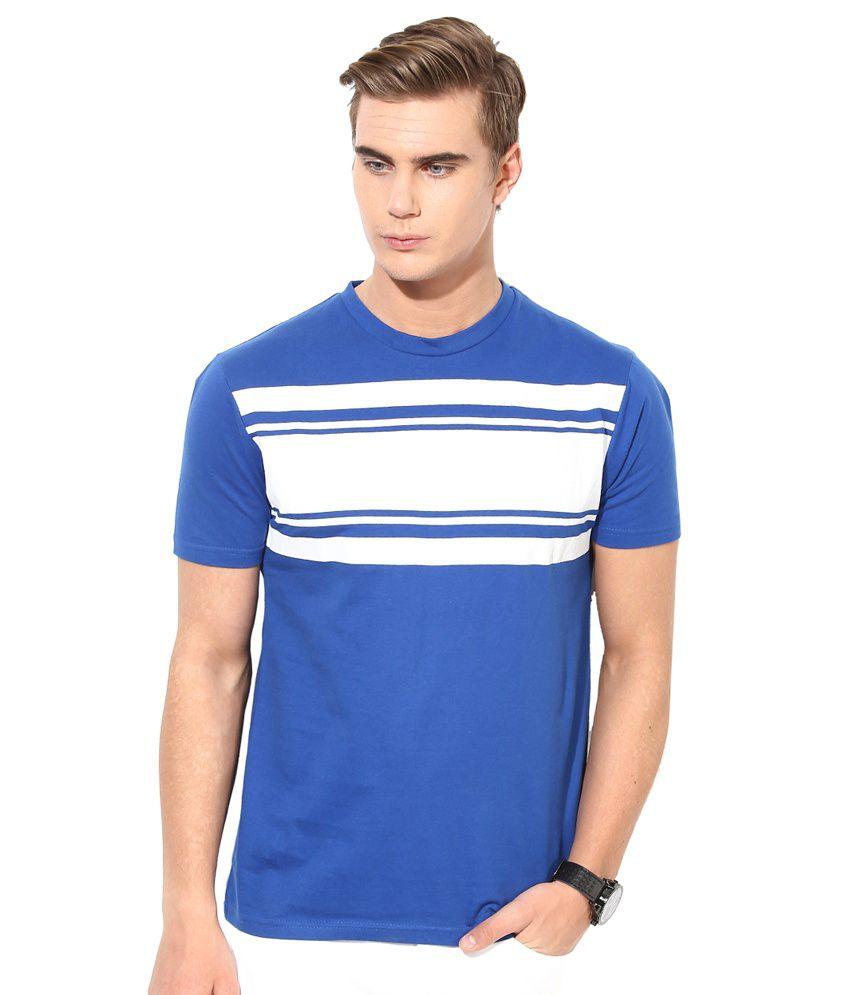 Monteil & Munero Blue & White Round Neck T-Shirt