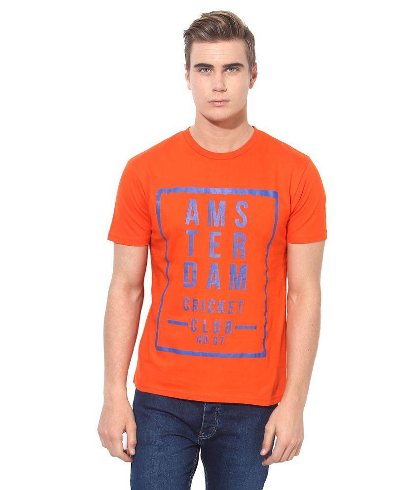 Monteil & Munero Orange Round Neck T-Shirt