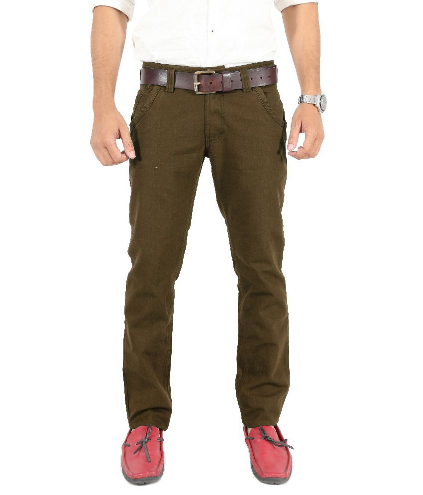 Uber Urban Brown Slim Fit Casual Chinos Trouser