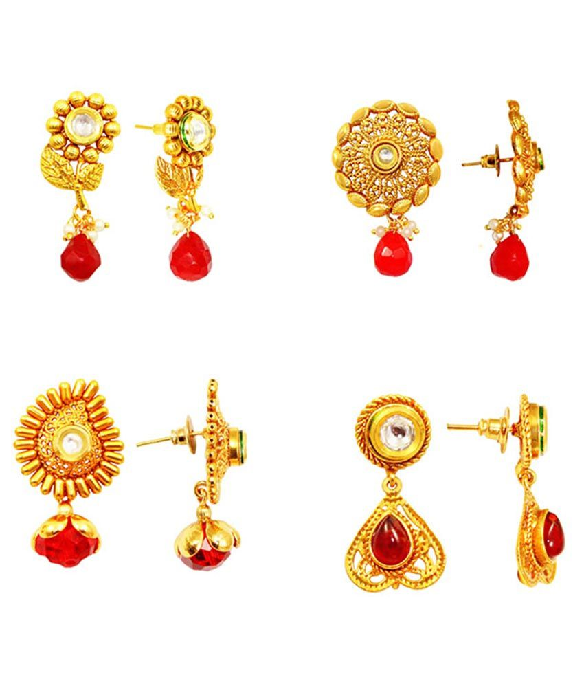 Vivah Creation Alloy Golden Drop Earrings - Pack Of 3