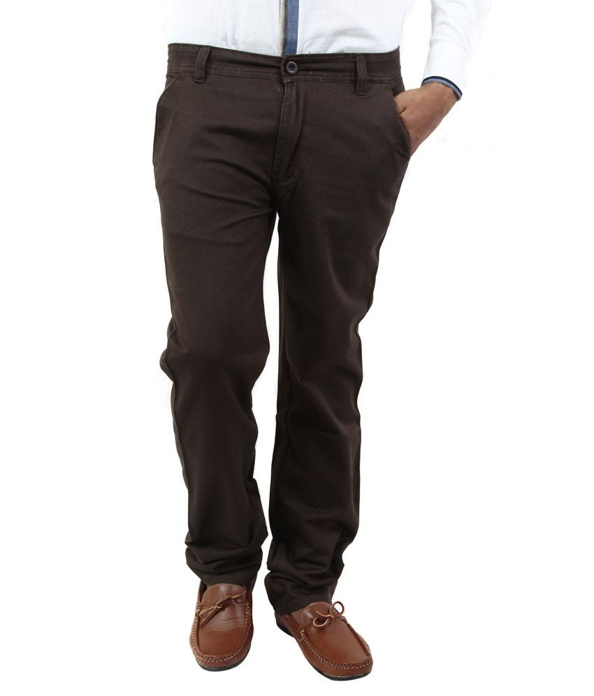 BlueTeazzers Brown Linen Slim Fit Chinos