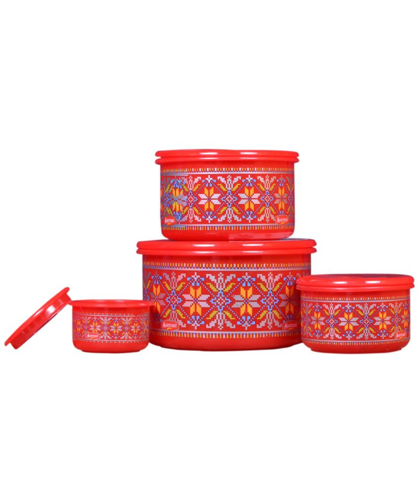 Home Creations Red Polypropylene Containers Set Of 4 Buy