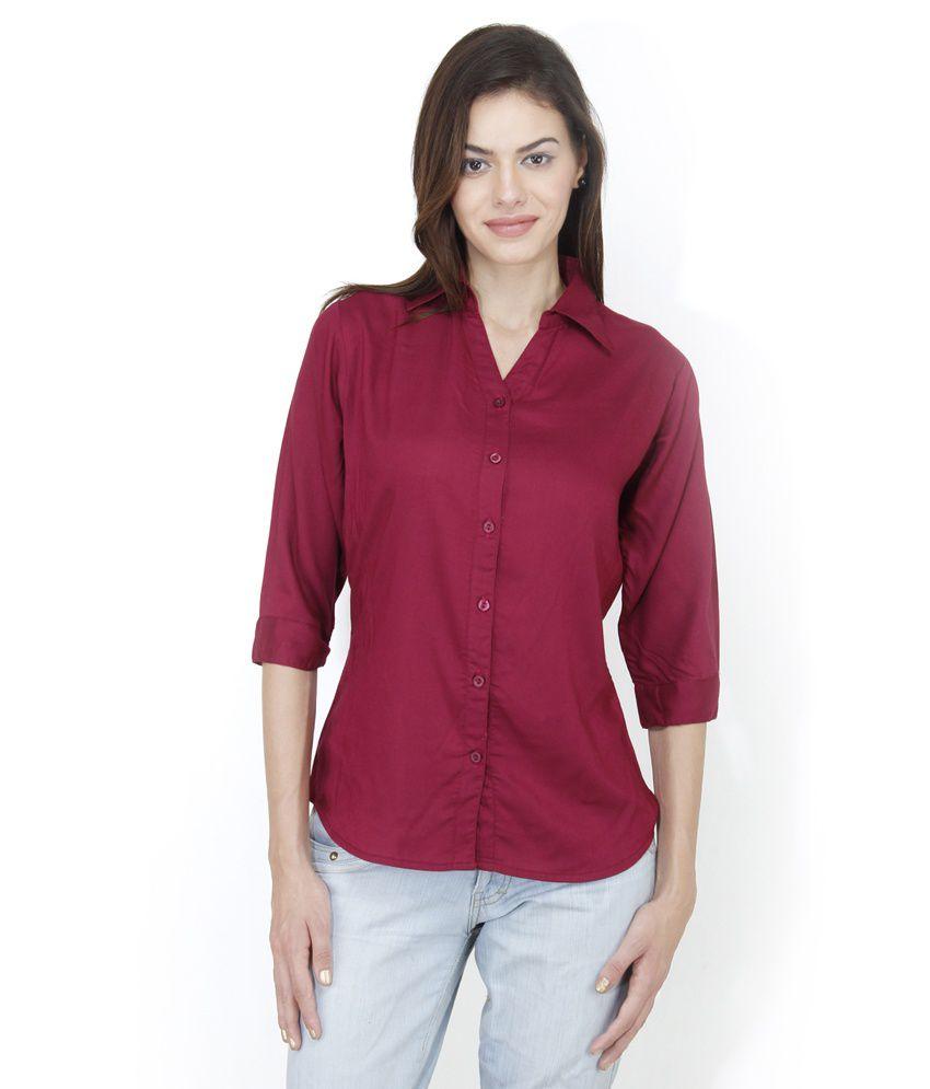 Mayra Red Rayon Shirts