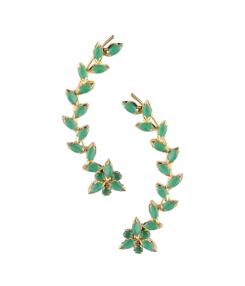 Archi Collection Green And Golden Alloy Ear Cuffs