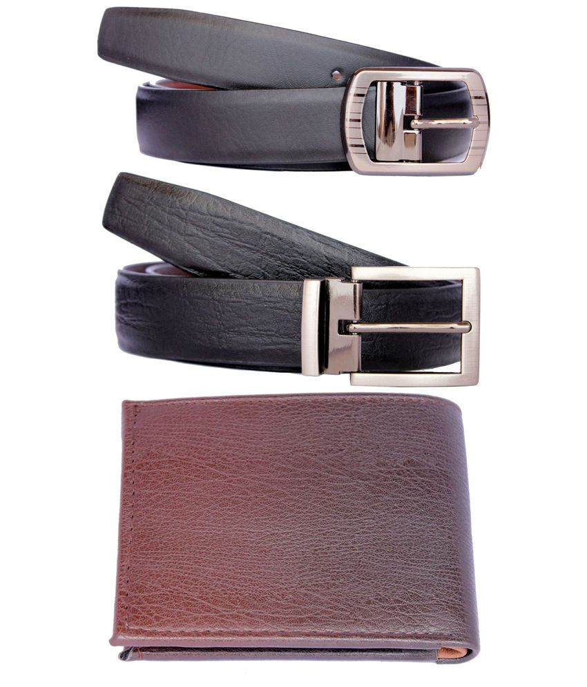 Discover Fashion Black Pin Buckle Leather Belt And Wallet - Combo Of 3
