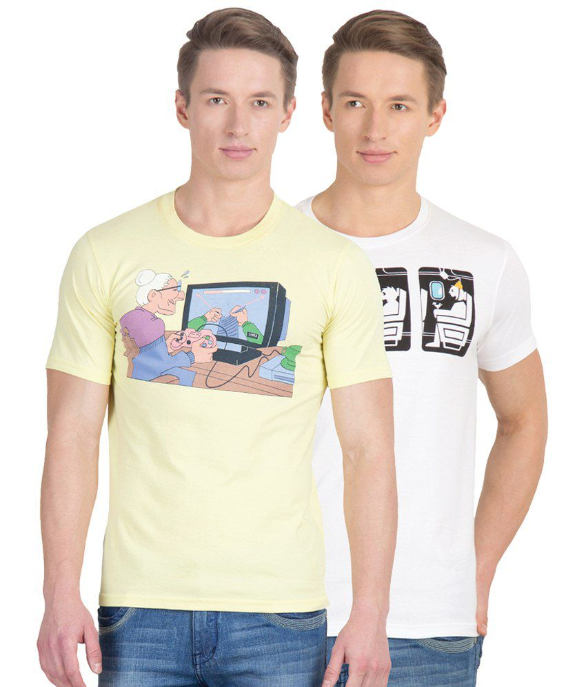 Gabi Combo of 2 Beige & White Comic Cotton T- Shirts